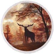 A Moose In Fall Round Beach Towel by Daniel Eskridge