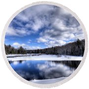 Round Beach Towel featuring the photograph A Moose River Snowscape by David Patterson