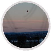 A Morning Hot Air Balloon Ride Round Beach Towel