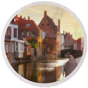 A Morning In Brugge Round Beach Towel by JR Photography