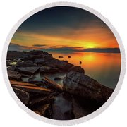 A Morning On The Rocks Round Beach Towel