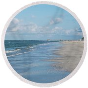 A Morning Walk On Fort Myers Beach Fort Myers Florida Round Beach Towel