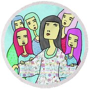 A Mother And 5 Daughters Round Beach Towel