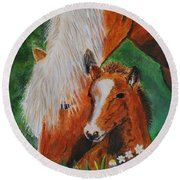 Round Beach Towel featuring the painting A Mothers Love by Leslie Allen