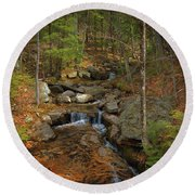 A Mountain Brook  Round Beach Towel by Skip Willits