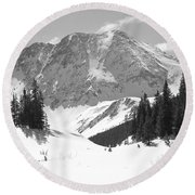 Round Beach Towel featuring the photograph A Mountain Is A Buddha by Eric Glaser