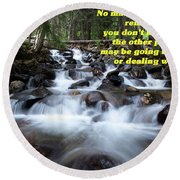 A Mountain Stream Situation 2 Round Beach Towel