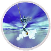 A Myth Is A Story With Wings Round Beach Towel