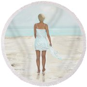Round Beach Towel featuring the painting A Natural Beauty by Leslie Allen