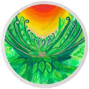 Round Beach Towel featuring the painting A New Beginning by Ania M Milo