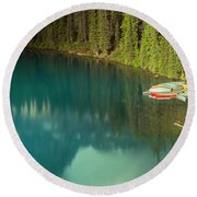 A New Day At Moraine Lake Round Beach Towel