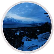 A New Day Dawns Over The Village Round Beach Towel