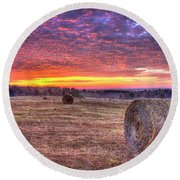 Round Beach Towel featuring the photograph Before A New Day Georgia Hayfield Sunrise Art by Reid Callaway