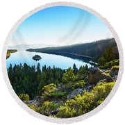 A New Day Over Emerald Bay Round Beach Towel