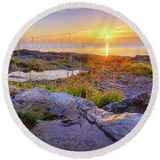 A New Day's Born Round Beach Towel
