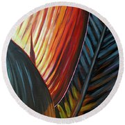 Round Beach Towel featuring the painting A New Leaf by Lesley Spanos