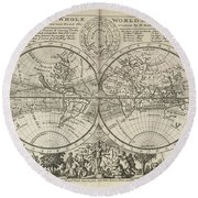 A New Map Of The Whole World With Trade Winds Herman Moll 1732 Round Beach Towel