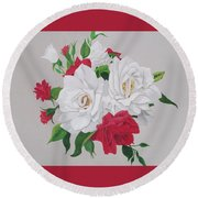 A New Rose Bouquet Round Beach Towel by Hilda and Jose Garrancho
