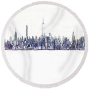 A New Year In Manhattan Round Beach Towel