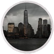 A New York Mood Round Beach Towel