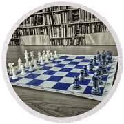 Round Beach Towel featuring the photograph A Nice Game Of Chess by Lewis Mann