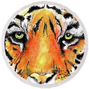 Round Beach Towel featuring the painting A Nice Tiger by Terry Banderas