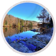 Round Beach Towel featuring the photograph A November Morning On The Pond by David Patterson