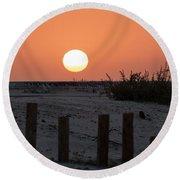 A November Sunset Scene Round Beach Towel