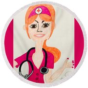 A Nurse  Round Beach Towel