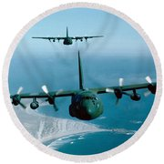 A Pair Of C-130 Hercules In Flight Round Beach Towel