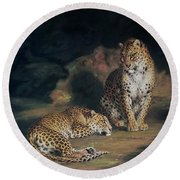 A Pair Of Leopards Round Beach Towel by William Huggins