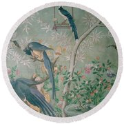 A Pair Of Magpie Jays  Vintage Wallpaper Round Beach Towel by John James Audubon