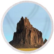 A Panorama Of Shiprock In New Mexico Round Beach Towel