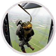 A Paratrooper Executes An Airborne Jump Round Beach Towel