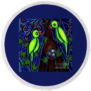 A Parrot Family In Wilderness Round Beach Towel