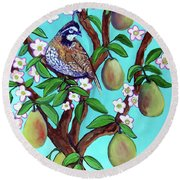 A Partridge In A  Blooming Pear Tree Round Beach Towel by Ecinja Art Works