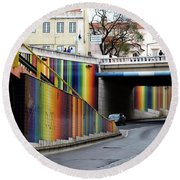 A Throughway Of Many Colors Round Beach Towel