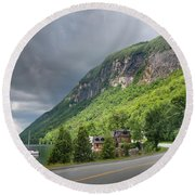 A Passing Cloud At Lake Willoughby In Westmore Vermont Round Beach Towel