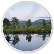A Pastel Sky Over Loch Ba Round Beach Towel
