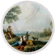 A Pastoral Scene With Goatherds Round Beach Towel by Francesco Zuccarelli