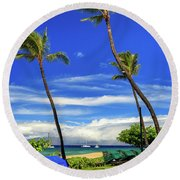 Round Beach Towel featuring the photograph A Path In Kaanapali by James Eddy