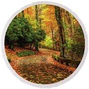 A Path Through Autumn Round Beach Towel by Darren Fisher