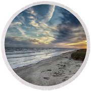 A Peaceful Beach Sunset Round Beach Towel