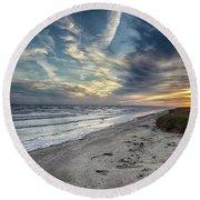 A Peaceful Beach Sunset Round Beach Towel