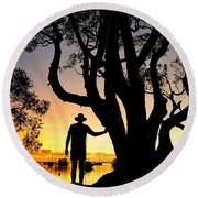 Round Beach Towel featuring the photograph A Peaceful Dawn Down By The Lake by Keiran Lusk