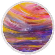 A Peaceful Heart - Abstract Painting Round Beach Towel