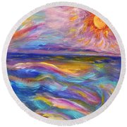 A Peaceful Mind - Abstract Painting Round Beach Towel