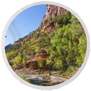 Round Beach Towel featuring the photograph A Peaceful Zion by John M Bailey