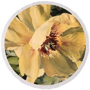 Round Beach Towel featuring the painting A Peony For Miggie by Laurie Rohner