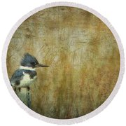 A Perched Belted Kingfisher Round Beach Towel